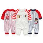 新款婴儿服装 有机纯棉长袖婴儿连体衣红蓝条纹宝宝哈衣爬服