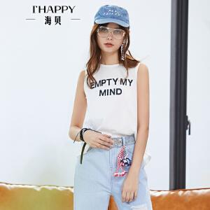 海贝2018夏装新款女 纯色全棉字母印花个性后背开衩休闲无袖T恤
