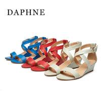 Daphne/达芙妮夏季中坡跟凉鞋 交叉绑带潮流露趾包跟1015303177