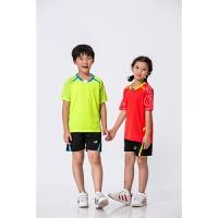 儿童羽毛球服套装 男女童圆领运动服 网球服乒乓球服 玫