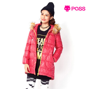 【不退不换】PASS冬女装毛毛边连帽中长款棉衣波点棉服外套