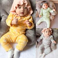 婴儿家居服内衣套装春秋款6女宝宝3个月新生儿秋季长袖男小童睡衣