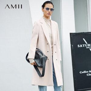 Amii[极简主义]干练 翻领毛呢外套女 2017冬装新款宽松双排扣大衣