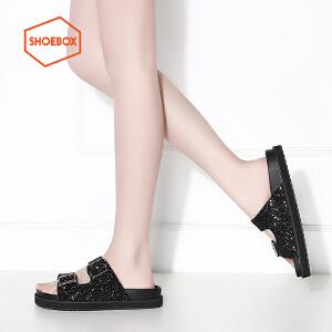 达芙妮集团 鞋柜夏季少女简约学生松糕防滑平底低跟凉拖鞋-2