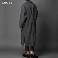 秋冬韩国男装新款羊绒大衣男长款过膝毛呢大衣休闲宽松潮男呢大衣
