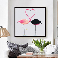 印花十字绣客厅餐厅2018新款火烈鸟小幅结婚简单线绣卧室