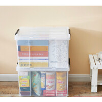 收纳箱塑料储物箱透明整理箱零食玩具整理箱特大号衣服箱子收纳盒 【环保PP材质,直角收纳箱】