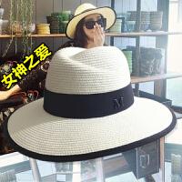 呛口小辣椒同款夏天M标礼帽子女夏季韩版爵士沙滩遮阳白色草帽潮 可调节