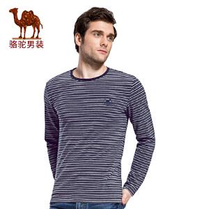 骆驼男装 秋季新款条纹时尚休闲圆领长袖上衣男青年T恤衫