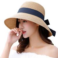 帽子女夏天韩版百搭遮阳帽可折叠草帽出游渔夫帽女沙滩帽海边