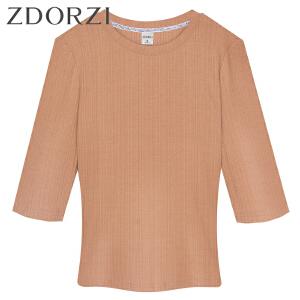 【商场同款】卓多姿显瘦修身五分袖纯色T恤女834240