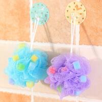 彩色海绵尼龙沐浴花搓澡巾洗澡沐浴球 单个装颜色随机发