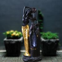 欧式黑人喷泉流水水景摆设家居装饰品风水轮摆件开业礼品