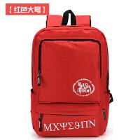 新款韩版双肩包潮中学生书包男士大学生高中生休闲简约背包女br 红色