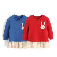 儿童上衣宝宝褶皱裙摆长袖 女童夹棉保暖卫衣 秋冬季