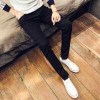 韩观青年修身弹性牛仔裤男冬季款加绒潮流男学生加厚小脚裤休闲长裤子