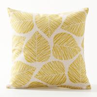 黄色复古简约红色树叶汽车沙发靠垫套靠枕套清新几何居家棉麻抱枕