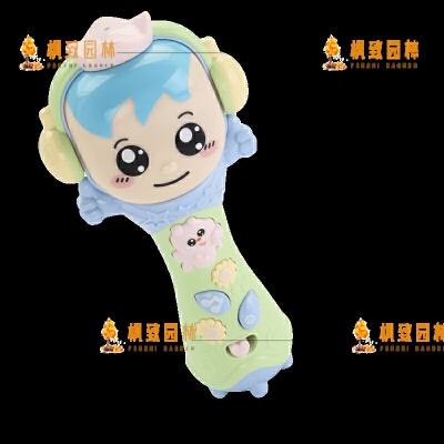 婴儿玩具宝宝0-3-6个月手抓摇铃有声会动音乐早教0-1岁男女孩 婴儿摇铃小话筒* 萌趣可爱声光可录音扩音