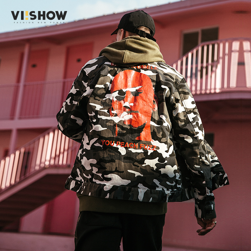VIISHOW2018春季新款夹克 迷彩方领潮牌男士外套宽松青年学生装满199减20/满299减30/满499减60 全场包邮