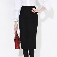 包裙冬毛呢半身裙高腰中长款职业裙过膝铅笔裙羊绒包臀裙黑色裙子 修身显瘦 2X