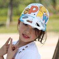 儿童风扇帽子太阳能出游遮阳帽防晒亲子男女童带风扇的太阳帽夏天 深灰色 湖蓝色PRW