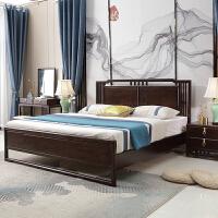 【1件3折 领券】美式古典实木床双人床 1.8米主卧真皮轻奢床柱子大床