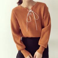 2017新款女装韩版长袖条纹针织衫女系带蝴蝶结打底衫毛衣女 均码