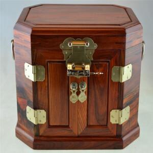 素面珠宝箱老挝大红酸枝首饰盒长27.5cm宽20.5cm高20cm