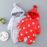 淘气麦兜 婴儿连体衣服女宝宝羽绒服冬季0岁3个月6哈衣1冬装男满月宝宝爬服