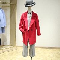 双面呢大衣女冬装新款 落肩中长款纯色宽松百搭毛呢外套