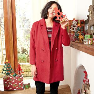 森宿借你温暖冬装女文艺宽松复古长袖大衣大红色毛呢外套女长款 2542783