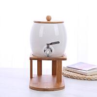 北欧陶瓷凉水壶带水龙头家用冷水壶花茶陶瓷盖水具套装客厅 不锈钢果壶大壶+底座