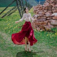 夏季女装复古气质蝴蝶结雪纺衬衫搭配鱼尾半身长裙套装裙两件套仙 裸色上衣+酒红色半身裙