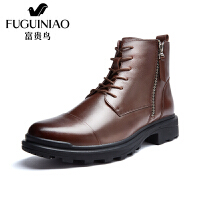 富贵鸟男靴马丁靴冬季加绒棉靴 新款英伦男休闲短靴皮靴子