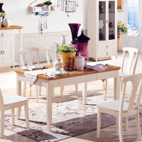 尚满 地中海系列客厅餐桌 餐厅家具 水曲柳实木框架餐桌(不包括椅子) 餐台