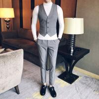 17秋装新款韩版男士修身纯色商务经典款V领男士西裤马甲两件套装