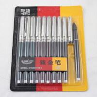 英雄钢笔007暗尖小学生用钢笔硬笔书法练字文具 特细 老式送笔尖