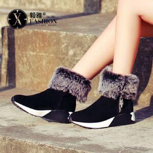 【毅雅】女鞋秋冬新款短筒圆头平底雪地靴加绒加厚棉鞋短靴棉靴女冬靴