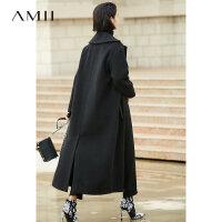 Amii[极简主义]轻奢 羊毛呢外套女2017冬季新翻驳领排扣开衩大衣