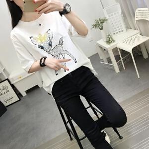 2018新款中长款圆领宽松T恤衫韩版百搭夏女短袖时尚流行小鹿图案