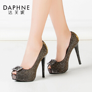 Daphne/达芙妮女鞋 春款细超高跟夜店水钻防水台鱼嘴单鞋女