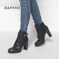 达芙妮专柜正品粗高跟侧拉链系带皮带扣女短靴
