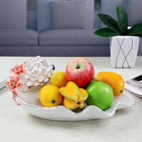 水果盘创意陶瓷摆件 婚庆新房时尚客厅简约现代欧式装饰结婚礼品 高白水果盘