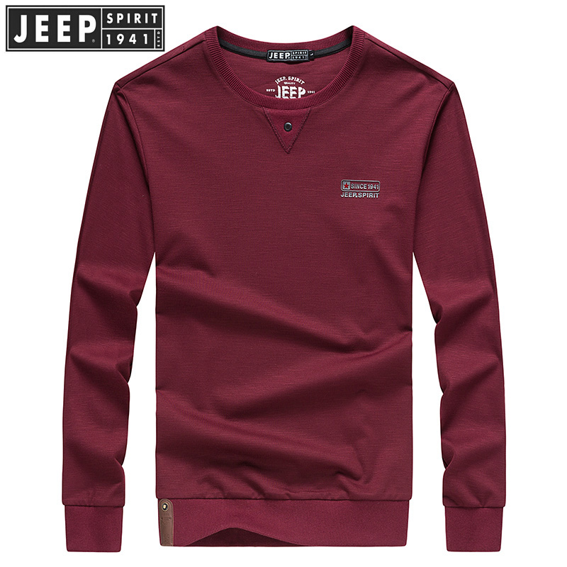 JEEP吉普长袖T恤男春秋男士圆领纯色卫衣户外运动休闲套头t恤打底衫