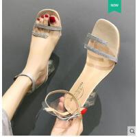 法式高跟鞋子女夏复古粗跟透明凉鞋女仙女风ins潮新款一字带