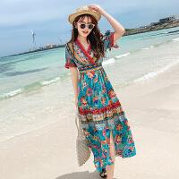 雪纺碎花连衣裙夏仙女超仙收腰显瘦波西米亚有女人味度假沙滩长裙