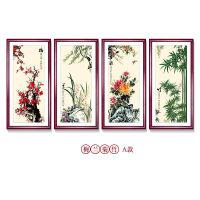 中式装饰画梅兰竹菊挂画沙发背景墙客厅画餐厅壁画四联水墨画国画 A款一套 50*100cm