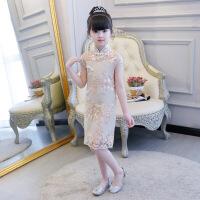 女童旗袍儿童中国民族风宝宝连衣裙小女孩古筝演出服改良唐装夏 香槟色