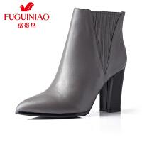 富贵鸟女鞋 秋冬新款高跟短靴女鞋女靴英伦切尔西靴女