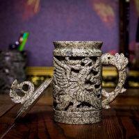 天然中华麦饭石水杯礼品复古茶杯带盖马克杯净水镂空龙杯子简约纯手工天然